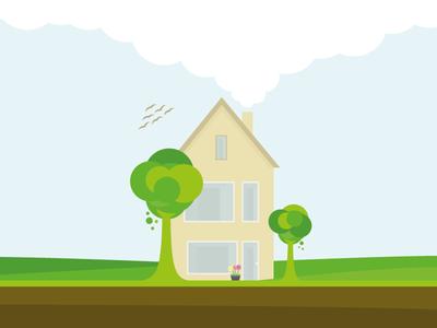 Quiet home trees drawing vector nature house illustrator splash screen illustration