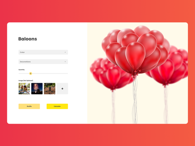 Design of product calc baloon baloons red clean websitedesign website webdesign uxdesign uidesign vector branding ui logo 3d typography illustration ux figma design