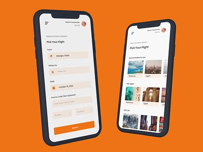Design of travel app uidesign traveldesign orange clean application appdesign app travelapplication travelapp travel vector branding ui logo 3d typography illustration ux figma design