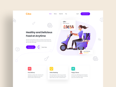 Food Delivery Landing Page cooking app pizza home page food delivery service foodie food template order restaurant food delivery delivery food website design web design landing page design landing page website web ux ui