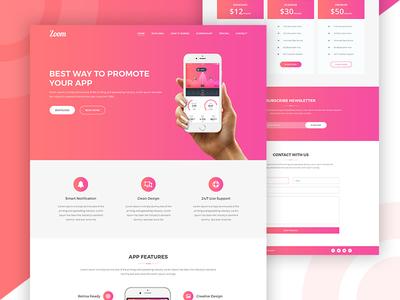 Zoom App Landing Page web design website modern minimal app web design ux ui responsive app landing page landing page