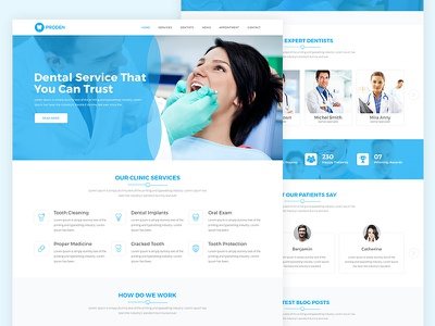 Proden Dental Clinic Web Template clean ui ux design web minimal website dental web design medical