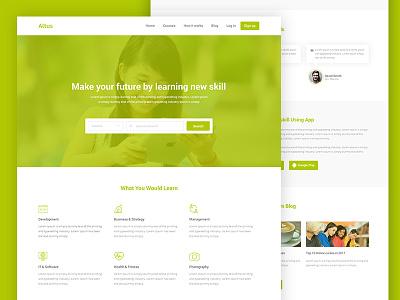 Altus e Learning Website Concept interface web design green education concept website web ux ui minimal design clean
