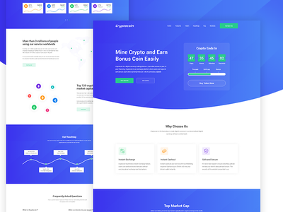 Cryptocoin - Cryptocurrency Landing Page exchange payment coin blockchain crypto bitcoin ico cryptocurrency web design creative landing page website web ux ui design