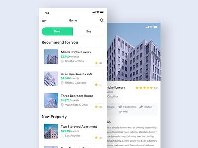 Property App Ui clean iphone flat mobile interface ios property real estate app design ux ui