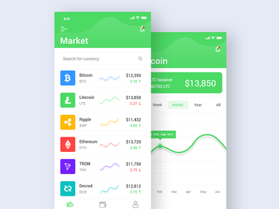 Cryptocurrency App Ui ico wallet design clean interface flat ios cryptocurrency app ux ui