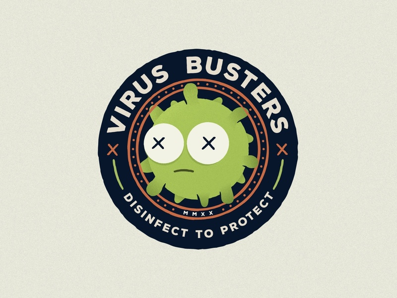 Virus Busters Badge coronavirus covid19 badge illustration branding icon logo miami