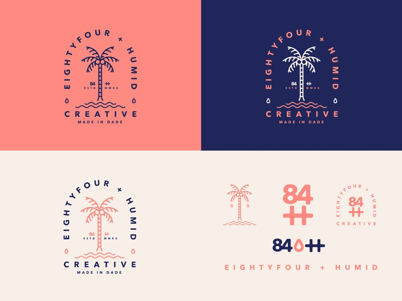 Eightyfour + Humid Creative palm badge logo badge branding design illustration icon logo miami