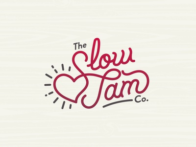 The Slow Jam Co. script heart slow jam jam type vector typography illustration design branding logo