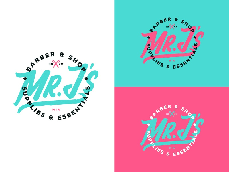 Mr. J's Barber & Shop Supplies and Essentials grunge emblem vice city barber type vector typography illustration design branding icon logo miami