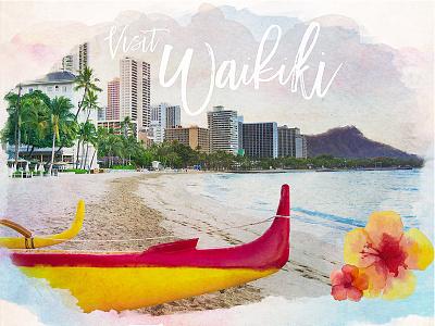 Visit Waikiki - Personality Quiz hotel watercolor