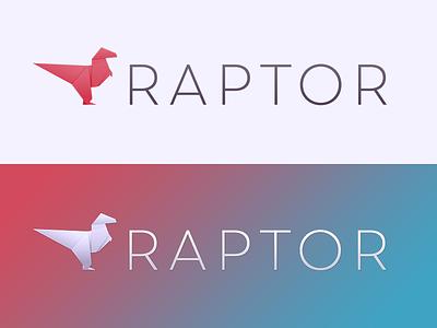 Raptor Rebound gradient origami logo