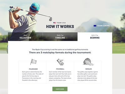 How It Works Tabs | PGA Ryder Cup illustrations golf rich background tabs