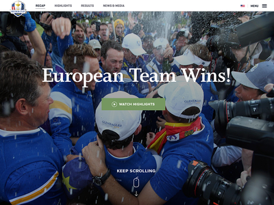 The scoreboard grid from the PGA Ryder Cup responsive website. serif full bleed photo hero homepage