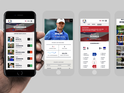 The scoreboard grid from the PGA Ryder Cup responsive website responsive iphone golf grid
