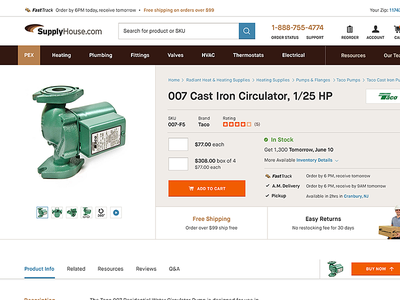 Product Detail Page | SupplyHouse.com responsive pdp e-commerce