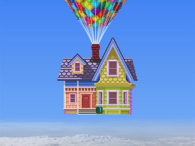 Pixel Up House pixel art illustrator pixar disney 8-bit