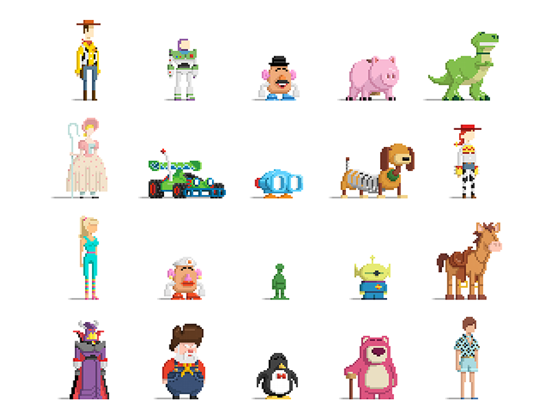 Pixel Toy Story pixel art illustrator pixar disney 8-bit