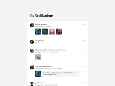 My Notifications simple product artworks design notifications