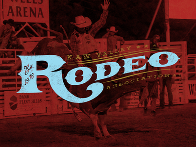 Kaw Valley Rodeo Association rodeo logo illustrator logotype western deming 1976 kansas