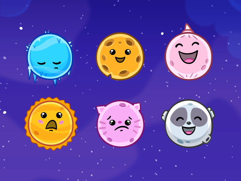 Planets emoji character illustration fun sky stars vector education planets space