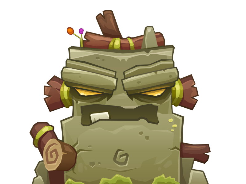 Rock Lord boulder angry stump vector character monster rock