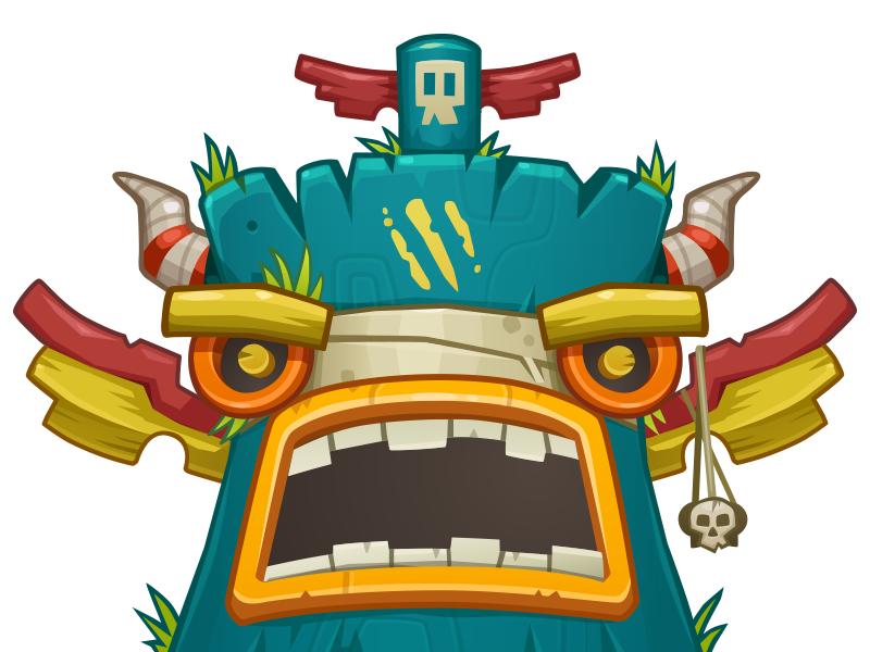 Tiki Totem game art voodoo character roar vector monster totem tiki