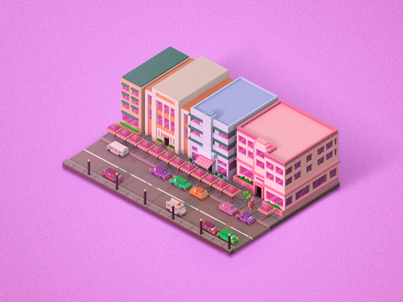 Ocean Drive city scape ocean drive pixel beach miami 3d voxel