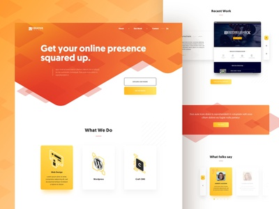 Creative Square Desktop Concept footer cta testimonials portfolio services header gradient orange isometric square concept landing frontpage homepage ux ui design web