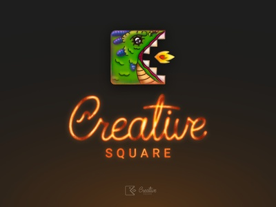 CS Logo Thing illustration square glow incadescent blaze scorched hot fire angry dragon brush lettering typography calligraphy mark icon concept branding logo