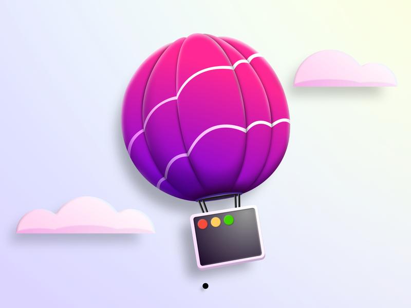 Helium app macOS icon redesign floating neon vector mac icon logo brush mac app drawing mockup menu window illustration baloon air app helium redesign icon macos mac