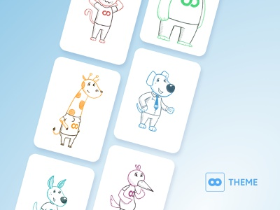 8theme Characters branding app pencil anthropomorphic friendly collection group set mascot website animal outline character ui simple cartoon web brush drawing illustration