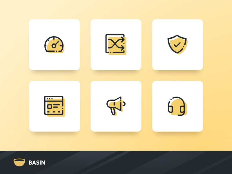 Basin Web Icon set stroke yellow vector logo websites product design website design mobile icon set illustration website ux ui simple outline flat set icon branding app
