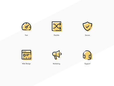 Basin Web Icon set stroke yellow vector logo websites product design website design mobile icon set illustration website ux ui simple outline flat set icon branding app