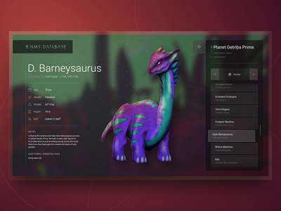 No Man's Sky Discovery UI Concept space discovery game web animation typography dinosaur app monster brush drawing illustration interface dashboard character product design website design website ux ui