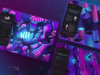 Spiffy Studio Website Concept v.01 abstract glow brush wallpaper isometric typography web app logo simple retro bright neon background illustration branding ux ui website web design