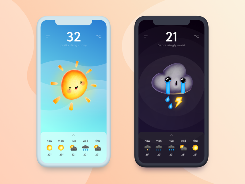 Weather App Concept logo icon art typography forecast weather sad happy cartoon ux ui concept custom brush cute cloud sun character illustration app