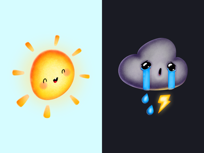 Weather App Concept logo icon art typography forecast weather sad happy cartoon ux ui concept custom brush cute cloud sun character illustration app