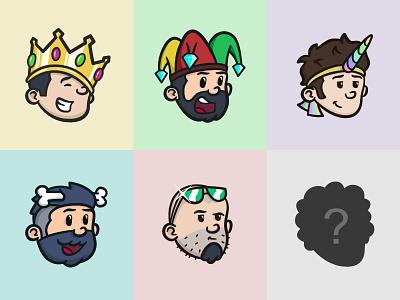 The Team colorful illustration picture profile caricature glasses bone unicorn joker king team avatar
