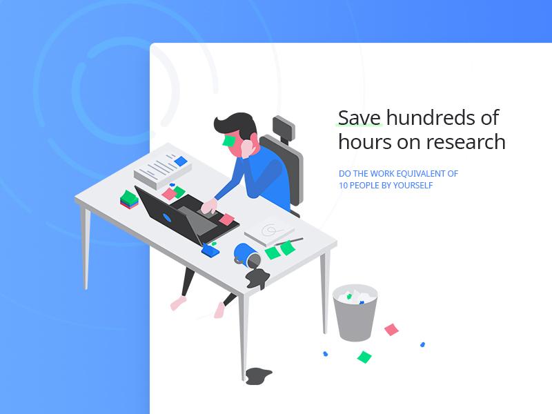 Desk Illustration stealth startup desk illustration chart