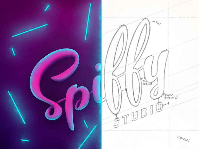 Spiffy Logo Showcase vector retro neon lettering branding wireframe sketch brush calligraphy typography logo illustration