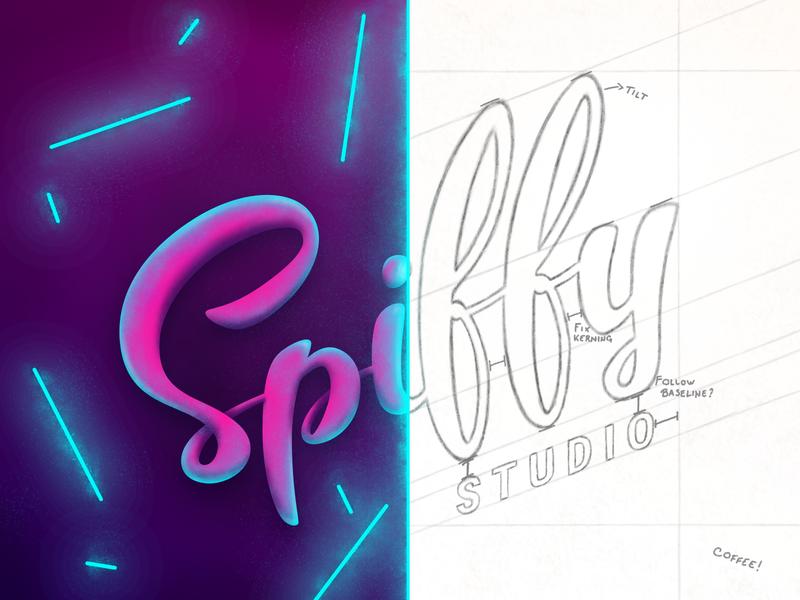 Spiffy Logo Showcase vector retro neon lettering branding wireframe sketch brush calligraphy typography logo illustration