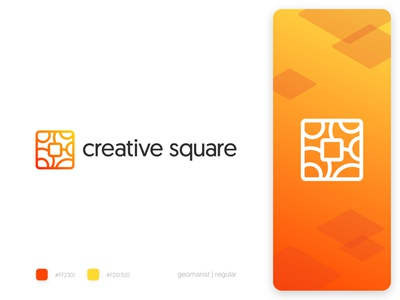 Creative Square Logo Concept design lettering prototype concept showcase font creative square gradient outline identity typography icon branding logo