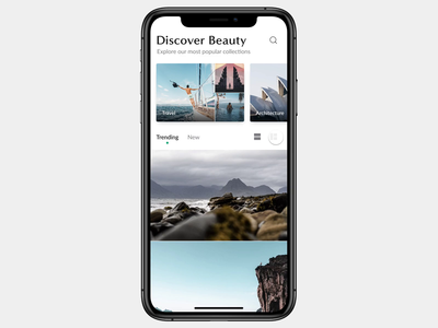 Curated Photography App photography interface animation interaction mobile app design ux ui