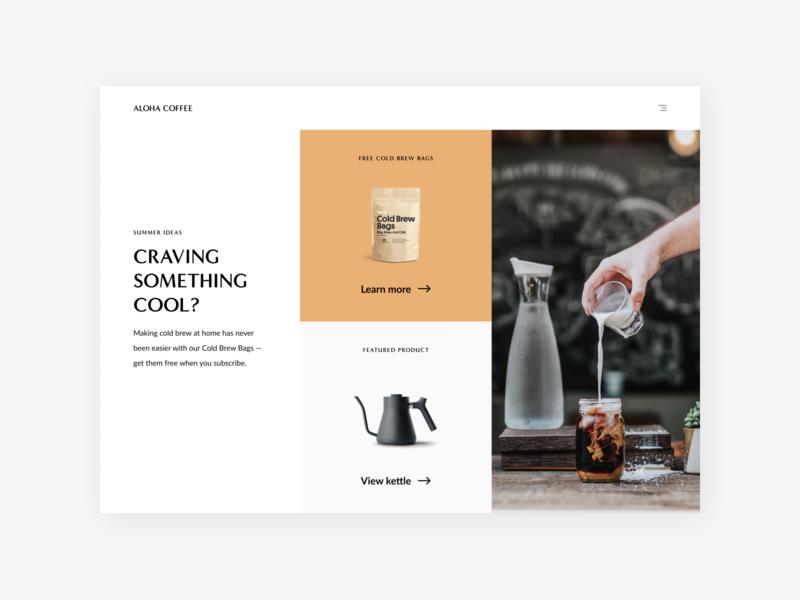 Minimalist Coffee Shop whitespace minimalist minimal coffee shop coffee challenge landing web dailyui design ux ui