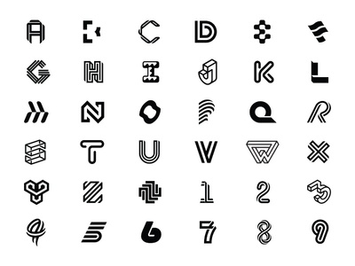 36 Days Full Recap black and white minimal minimal design graphic design typography logo design logo branding 36 days of type