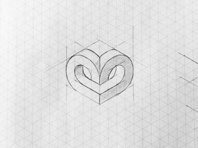 Isometric Heart Sketch logo design grid black and white branding graphic design design brand logo sketch isometric