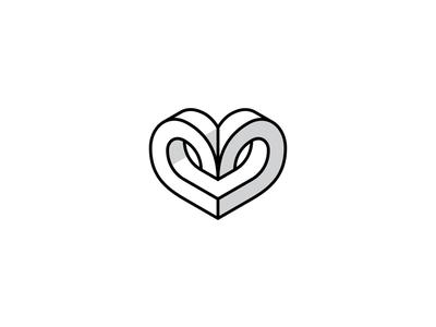 Isometric Heart Vector graphic design logo design optical illusion 3d illustration vector isometric black and white branding brand logo