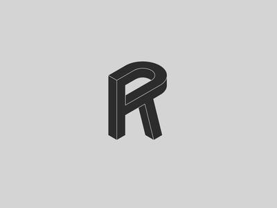 Impossible R graphic design minimalism minimal branding logo design single letter mark mark isometric logo