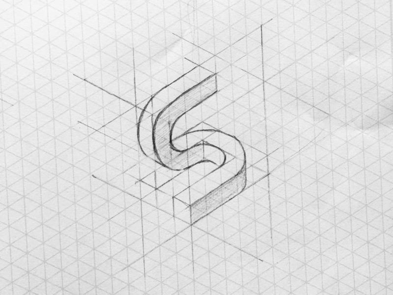 Isometric S sketch grid 3d simple mark graphic designer minimalism brand isometric design typography minimal design minimal black and white logo design graphic design branding logo